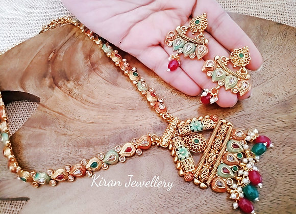 Ruby Green Meena Long Necklace Set