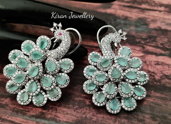 Mint Stone Peacock Earrings