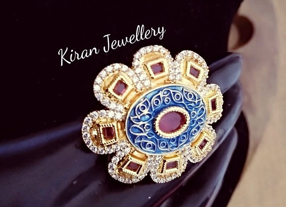Blue Meenakari Ruby Ring