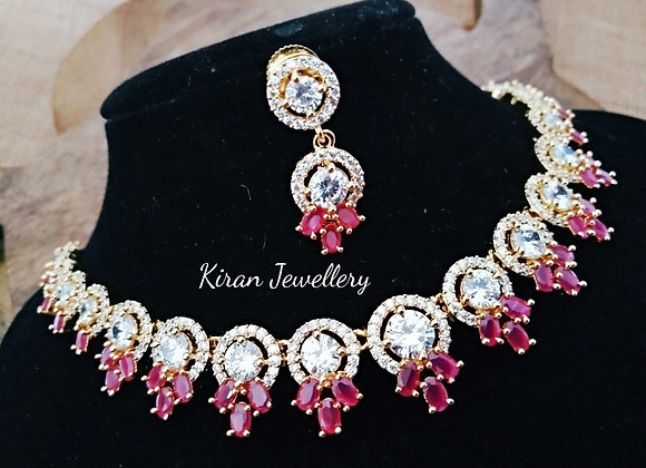 Ruby Color AD Necklace Set