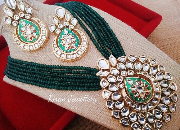 Green Mala Elegant Kundan Necklace