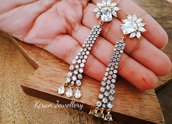 White Color Sleek Earrings