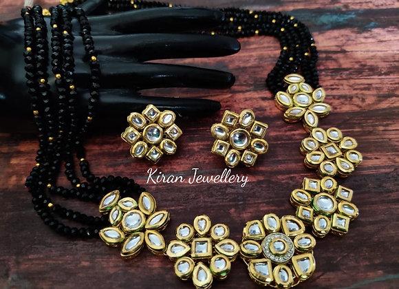 Black Mala Kundan Necklace