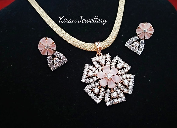 Pink Stone Pendant Set