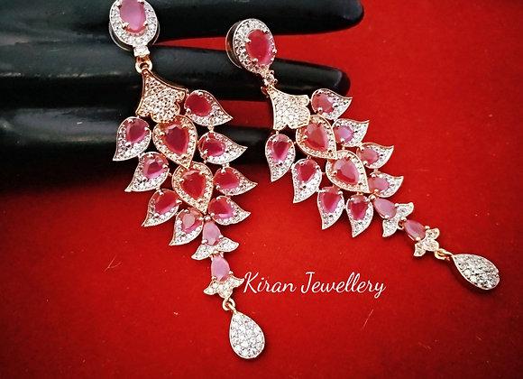 Ruby Color Earrings
