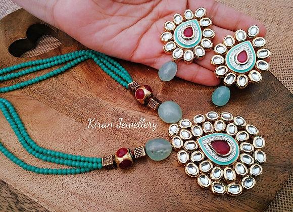 Lovely Green Shade Kundan Necklace