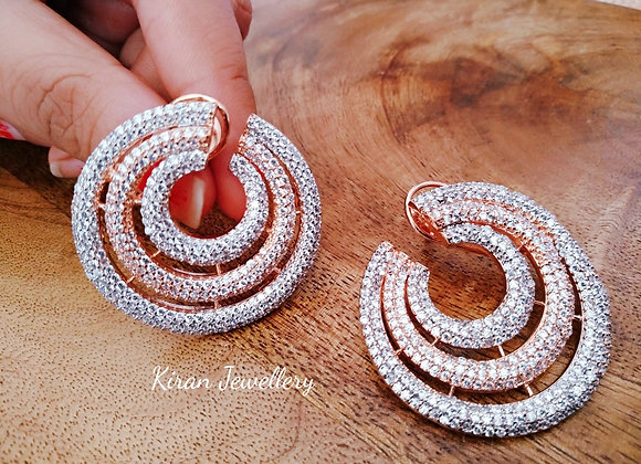 Kiran Jewellery Rosegold Silver Fusion Studs