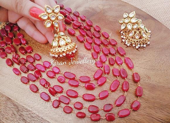 Ruby Colored Mala Set With Jhumki