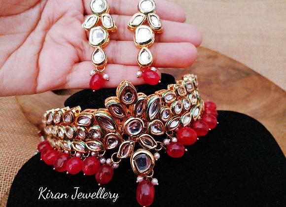 Ruby Stone Kundan Choker Necklace