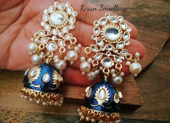 Blue Kundan Jhumki