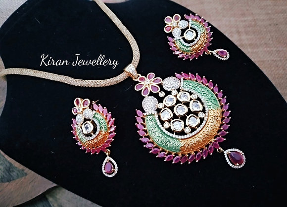 Multicolor Pendant Set With MultiColor Chain
