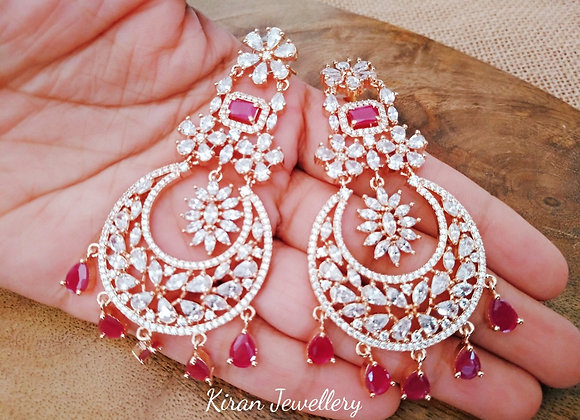 Ruby Color Earrings