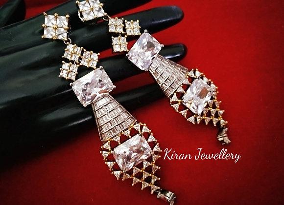 White Stylish Oxidised Earrings
