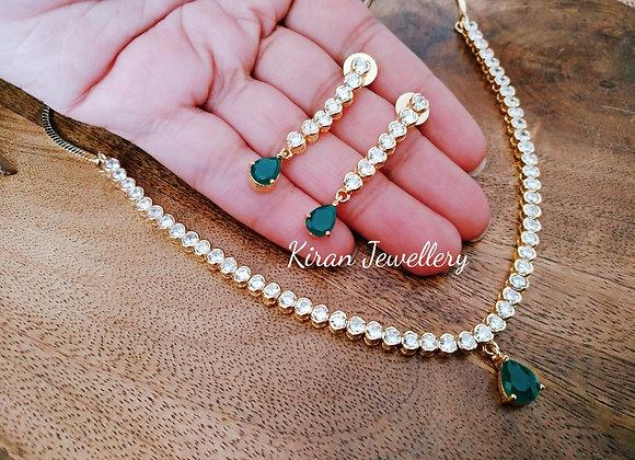 Elegant and Stylish Green Stone Necklace