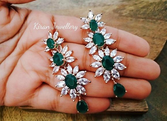 RoseGold Polish Green Earrings