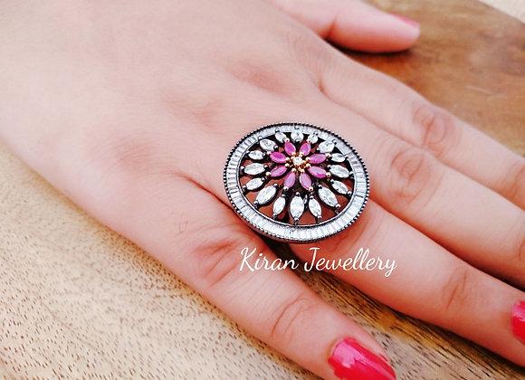 Oxidized Ruby Ring