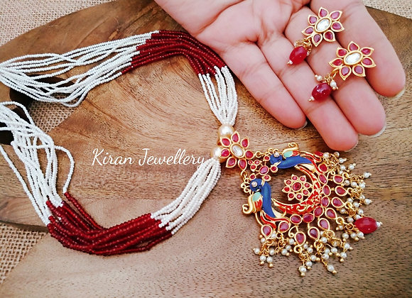 Ruby Stone With Meenakari Peacock Necklace