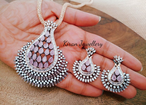 Black Polish Pink Stone Pendant Set
