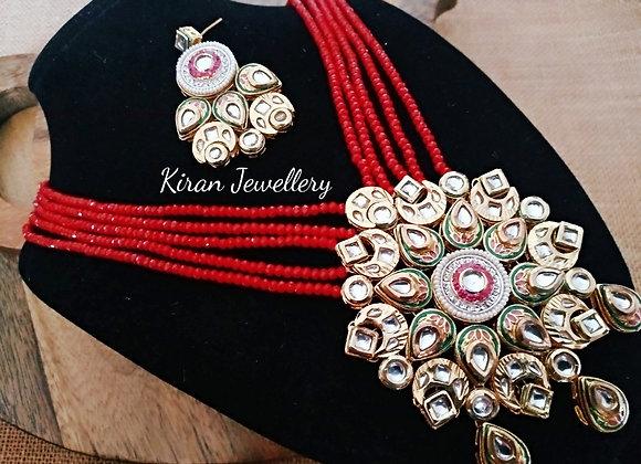 Red Mala Kundan Set