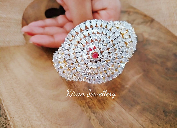 Royal look AD Bracelet with Centre Stone Ruby