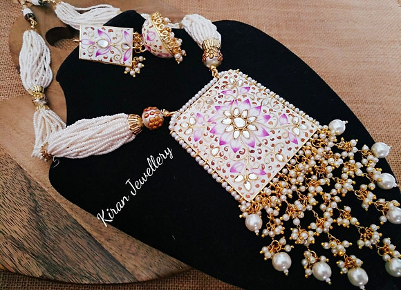 Handpainted Necklace With Pearl Mala