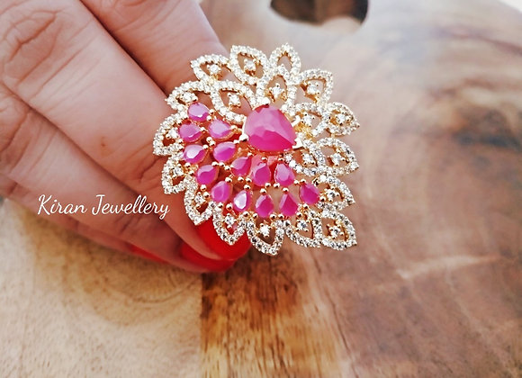 Golden Ruby Cocktail Ring