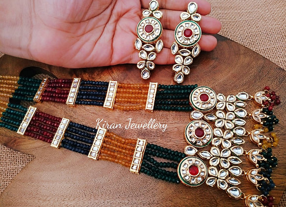 Multicolor Mala Kundan Necklace Set