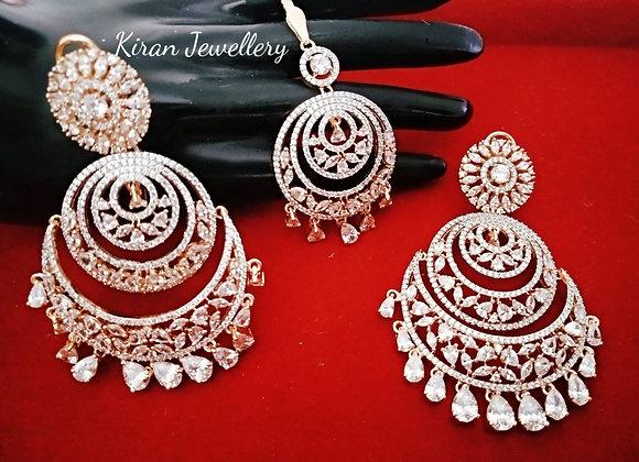 RoseGold Polish Earrings Mangtikka Combo
