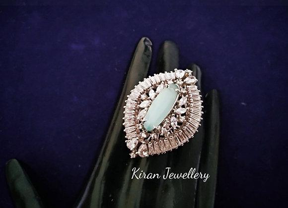 SeaGreen Stone Elegant AD Ring