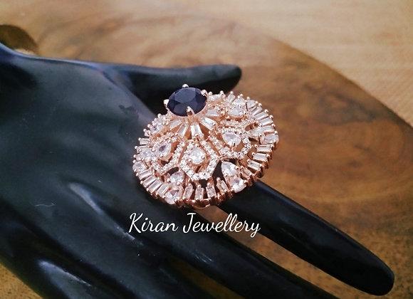 Blue Stone RoseGold Polish  Ring