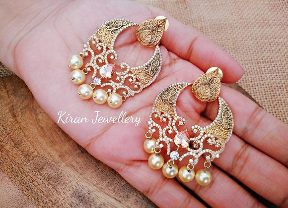 Chandbali in shades of gold