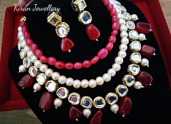 Ruby Color Kundan Necklace Set