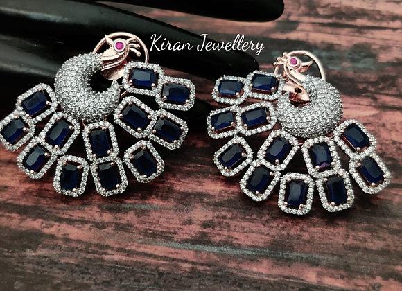 Blue Stone Stylish Peacock Earrings