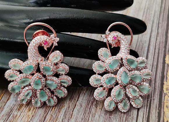 Peacock Earrings in Mint Stone