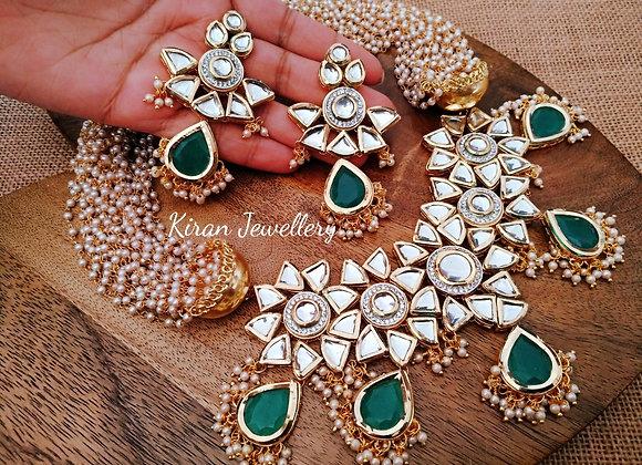 Green Kundan Necklace With Pearl Mala