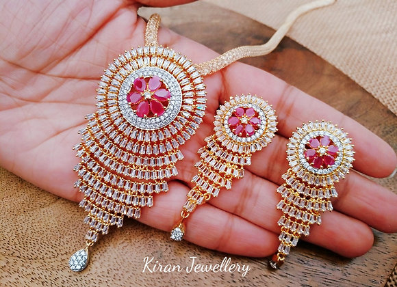 Ruby Stone Stylish Pendant Set