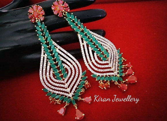 Green Ruby Stone Long Earrings