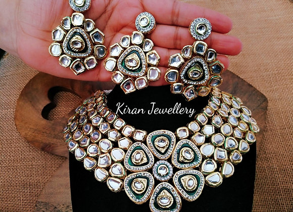Green Meena Kundan Necklace