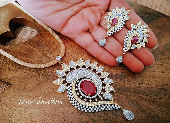 Royal Look Ruby Pendant Set