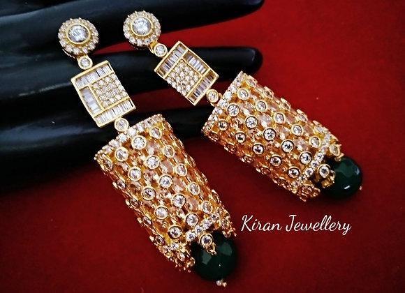 Green Color Pearl Rosegold Polish Earrings