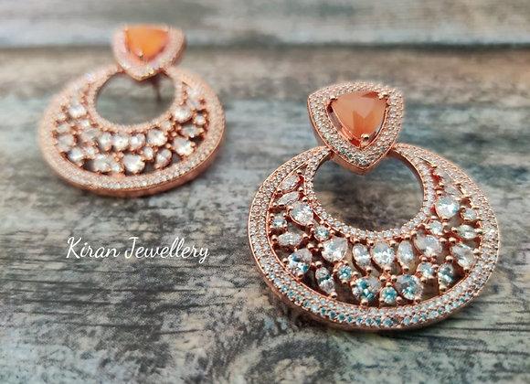 Orange Stone Rich Look Chandbaali
