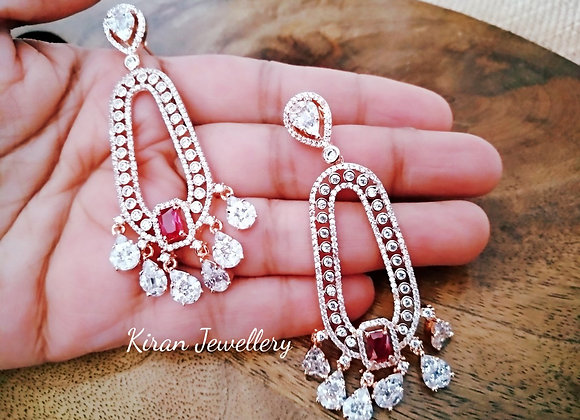 Ruby Stone RoseGold Polish Earrings