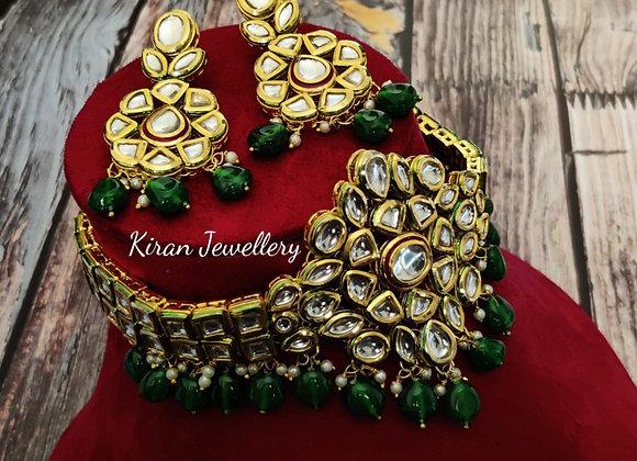 Green Moti Kundan Choker