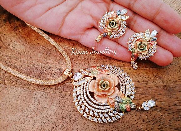 Rose Flower Pendant Set