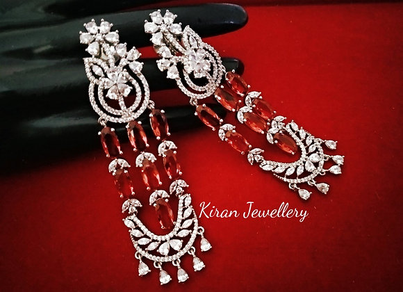 Ruby Color Stylish Earrings