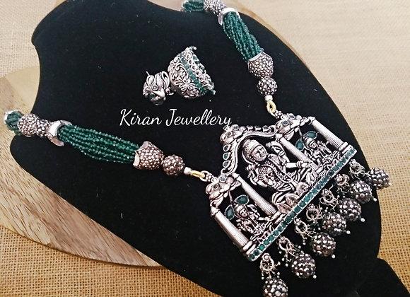 Oxidized Temple Jewellery In Onyx Mala