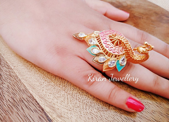 Peacock Ring with Multicolor Meena