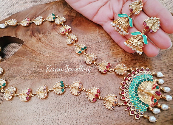 Green Meena Peacock Long Necklace Set