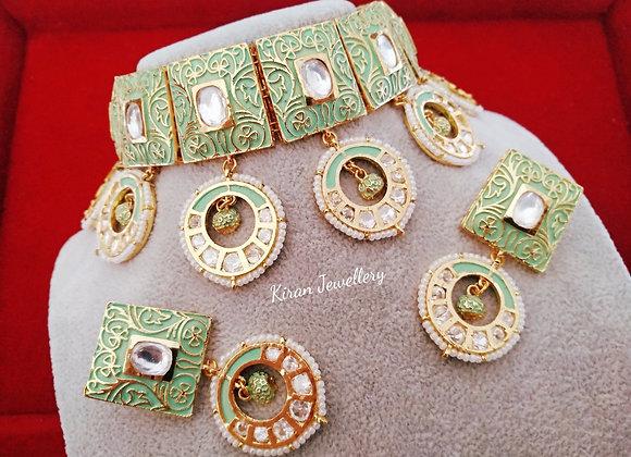 Beautiful Green MeenakariKundan Necklace