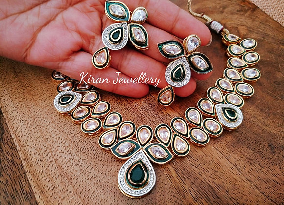Inverted AD Green Color Necklace